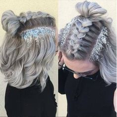 sylvester 2017 party hairstyles silver hair with glittering in the neck - Hochzeitsfrisuren - Beauty Party Hairstyles, Braided Hairstyles, Festival Hairstyles, Concert Hairstyles, Coachella Hairstyles Short, Summer Hairstyles, Trendy Hairstyles, Hairstyles Videos, Holiday Hairstyles