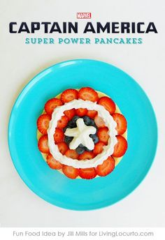 Captain America Super Power Pancakes make breakfast fun! An easy pancake idea that kids can make themselves. What a super cute idea for Avenger fans! A healthy and delicious snack.