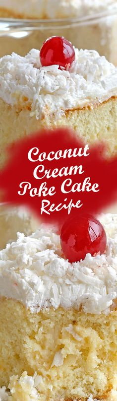 Coconut Cream Poke Cake Recipe - Smart Cooking Ingredients 1 white cake mix 3 large egg whites cup vegetable oil 1 cup milk or water 1 tsp.) can of cream of coconut . Argula Recipes, Coliflower Recipes, Poke Cake Recipes, Dessert Recipes, Poke Recipe, Recipe Recipe, Yummy Recipes, Cooking Recipes, Halloumi