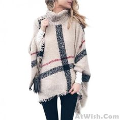 Cyber Monday Black Friday High Neckline Color Block Casual Cape Loose Short Shift Sweaters - Fashion Trends of Winter Womens trendy sweaters 2020 Winter Coats Women, Coats For Women, Sweaters For Women, Pullover Mode, Pullover Sweaters, Women's Sweaters, Plaid Fashion, Sweater Fashion, Fashion Top