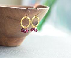 Garnet Dangle Earrings Open Circle with Tiny by AlaskaDaisy