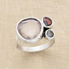 Three Ponds Ring :: {sterling bezels on a sterling band hold rose quartz, labradorite and garnet}