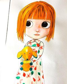 Would you like to see more? Follow me on IG @merifeee. I am improving my watercolor skills :) #watercolor #watercolour #blythedoll #blythestyle #blythe #japanesedolls #satochan #danielsmithwatercolors #schminckeaquarellefarben #danielsmith #schmincke