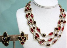 Kramer Red Rhinestone Necklace and Earrings Open Back by COBAYLEY, $85.00