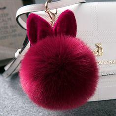 49e4c08fc399 Pompon Fluffy Porte Clef Pompom De Fourrure Women Femme Pom Pom Keychain  Rabbit Ear Fur Ball Key Chain Rings For Bag 2017