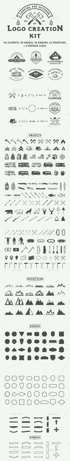 Camping Logo Creation Kit - PSD, Layered PNG, Vector EPS, AI Illustrator
