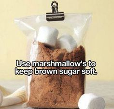 Keep brown sugar soft with marshmallows