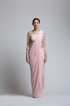 Concept sari with an embroidered blouse and a pre-stitched skirt sari drape.- The Ivory Blossoms : hand-embroidery with sequins, florets. pearls and silver crystals