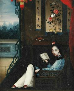 Unknown (Chinese) Lady Reading a Book in an Interior Mid 19th century