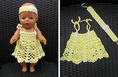 Jurkje voor Baby Born pop (met link naar gratis patroon) / dress for Baby Born doll (with link to free pattern) Cute Baby Boy Names, Baby Born Clothes, Baby Boy Cards, Baby Girl Bedding, Real Doll, Crochet Doll Clothes, Bitty Baby, Baby Girl Shoes, Boho Baby
