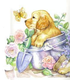 Gardenpup In Bucket ..... Lessa Whitten Art