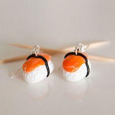 Boucles d'oreilles sushi en pâte fimo polymère
