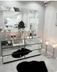No photo description available. Glam Living Room, New Living Room, Living Room Decor, Mirrored Furniture, Home Decor Furniture, Mirrored Dresser, Elegant Home Decor, Elegant Homes, Home Bedroom