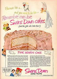 Swans Down Cake recipe... Swans Down Cake flour was made in my hometown of Evansville, Indiana for years. ( I think it was in the late 80's before they close it down.)