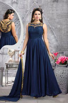 Navy Blue Silk Floor Length Anarkali Suit 63142