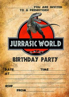 Birthday Party Invitations Jurassic World Dinosaurs T Rex X 8 Thick Cards