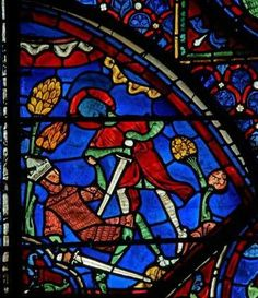 Chartres Cathedral window w. 7, Panel 17 Roland defeats Ferragut