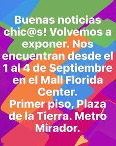 Buenas noticias chic@s! Volvemos a exponer.  Nos encuentran desde el 1 al 4 de Septiembre en el Mall Florida Center. Primer piso Plaza de la Tierra. Metro Mirador.  #Altorrelieve #feria #exposicion #metro #mall #feriaverde #aros #madera #volvemos #gracias