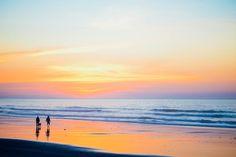 Sunset Beach, Walking People, Dog, Beach, Sunset