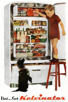 Kelvinator, 1947.  Posted on Flickr by Paul Malon---This picture reminds me of how my little brother would climb on EVERYTHING to get what he wanted!