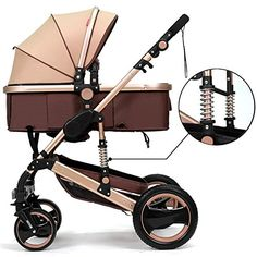 Belecoo™ Luxury Newborn Baby Foldable Anti-shock High View Carriage Infant Stroller Pushchair Pram(Golden) - $319.98