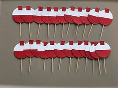 24 fishing #bobber #cupcake toppers. great for #birthday parties or baby showers., View more on the LINK: http://www.zeppy.io/product/gb/2/252765960072/