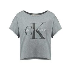 Calvin Klein Jeans Print T-shirt light grey (14 KWD) ❤ liked on Polyvore featuring tops, t-shirts, calvin klein top, patterned tops, light grey t shirt, print top and print tees