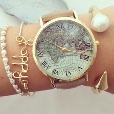 Classic World map watch