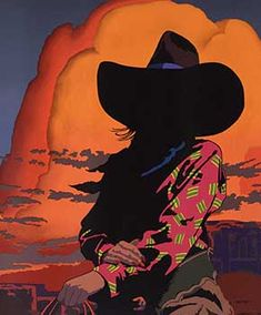 A striking silkscreen on paper by contemporary artist Billy Schenck titled Blazing Cowgirl. Art Sketches, Art Drawings, Navajo Art, Westerns, Into The West, Cowboy Art, Le Far West, Western Art, Cute Wallpapers