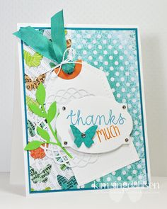 """""""Thanks Much""""  ♥ this retro card by Kim Singdahlsen.  Neat use of colour and textures."""