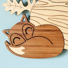 Bamboo Fox Wall Clock: Wood Animal Kids Clock by graphicspaceswood