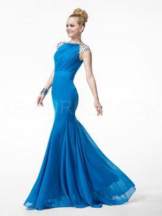 Stylish Mermaid/Trumpet Floor-length Bateau Zipper-up Beading Evening Dress 2