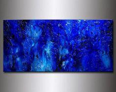 Original azul gruesa textura pintura abstracta arte moderno | Etsy