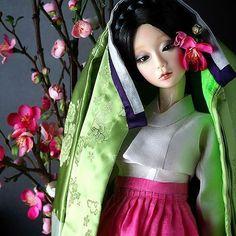 장옷  쓴 sd구체관절인형 연두#구체관절 인형#인형#인형한복#구체관절인형한복#장옷#ball  joint doll#korea traditional dress#hanbok#예님돌#yenimdoll
