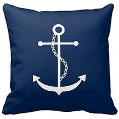 Joy City Navy Blue Anchor Pillow Cover Throw Pillowcase 18 X 18 Square  Throw Pillow Cover Nice Design