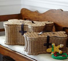Doggie Toy Basket at Pottery Barn. Ridiculously expensive, I think, but really cute.