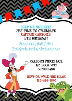 Captain Hook Birthday Invite (Peter Pan, Jake and the Neverland Pirate) on Etsy, $10.00