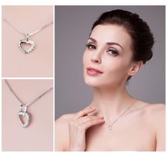 Free Shipping 925 Sterling Silver Heart Love Wedding Engagement Pendant Necklace - Free Shipping