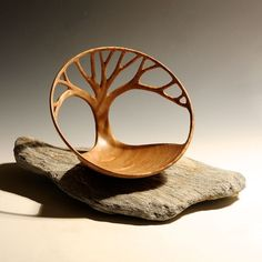 Cherry wood tree bowl Turned and hand carved by Richard Kennedy Wood Art.