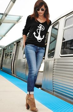 AG 'The Stilt' Cigarette Leg Jeans (Eleven Year Journey) Pretty Outfits, Cool Outfits, Casual Outfits, Looks Style, My Style, Anchor Sweater, Looks Jeans, Roll Neck Sweater, Nautical Fashion