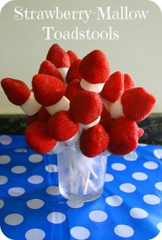 Mummy Mishaps Strawberry Mallow Toadstools. Would be cute with white chocolate chips as dots in the red.