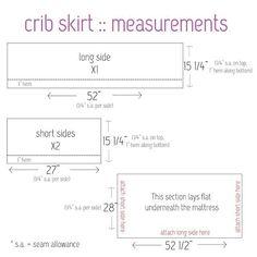 crib bedding 101 - Elle Apparel by Leanne Barlow Measurements for making a crib skirt. Need 2 yd Crib Bed Skirt, Crib Bedding Boy, Crib Skirts, Crib Mattress, Crib Bumpers, Crib Skirt Patterns, Baby Patterns, Crib Skirt Tutorial, Diy Crib