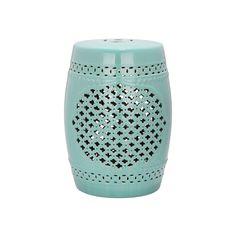 Outdoor Safavieh Quatrefoil Ceramic Garden Stool, Blue