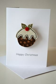 Stitch Galore Handmade Christmas card with a Christmas pudding brooch attached. A little gifts as we… – christmas Felt Christmas Decorations, Felt Christmas Ornaments, Diy Christmas Cards, Christmas Design, Homemade Christmas, Dough Ornaments, Homemade Ornaments, Diy Ornaments, Christmas Pudding