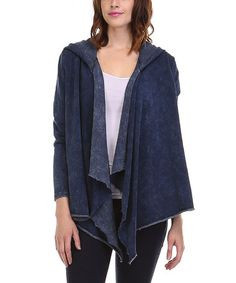 This Navy Marble Hooded Open Cardigan is perfect! #zulilyfinds