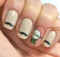 Mustache Nails: Manicure Featuring Mustache Water Decal Stickers