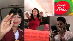 Spicejet begins Holi celebrations by cabin crew into the airplane before takeoff.