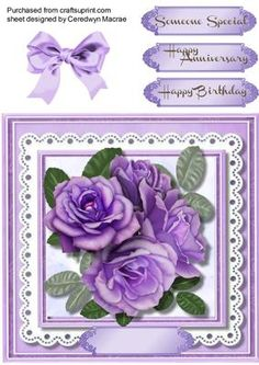 Stunning lilac roses on lace  on Craftsuprint - Add To Basket!