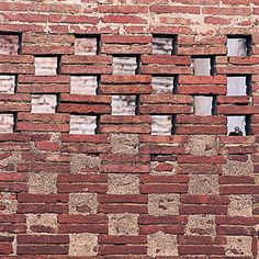 Double stacked Roman brick mesh garden wall, Tuscany