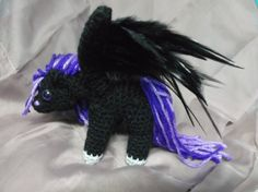 Crochet pegasus amigurumi black crochet pegasus by SalemsShop